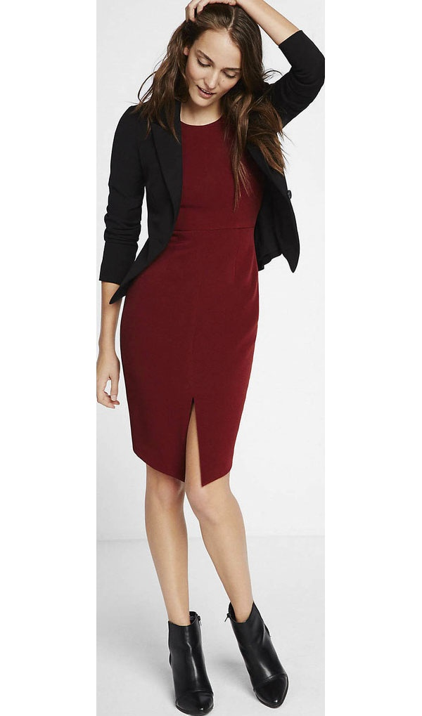 13087a0f540f7 Above: Here's another maroon dress worn with silver-toned open toe sandals.