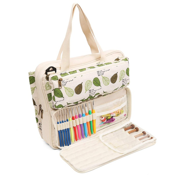 Large Capacity Yarn Storage Tote Bag Needlework Sewing Project Pouch Holder