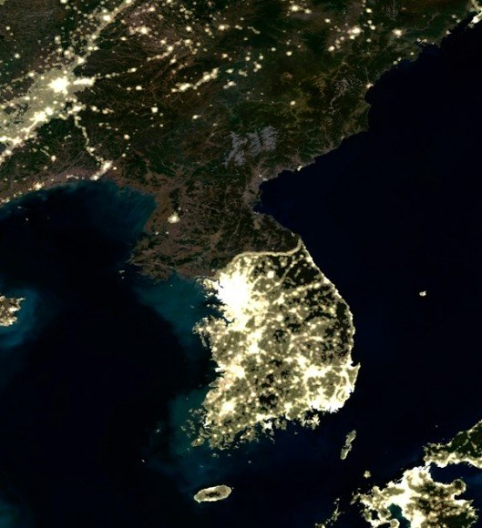 Would the destruction of seoul be an acceptable price for ending the south korea seen from space seoul is that big bright blot of light right in the middle of the map gumiabroncs Image collections