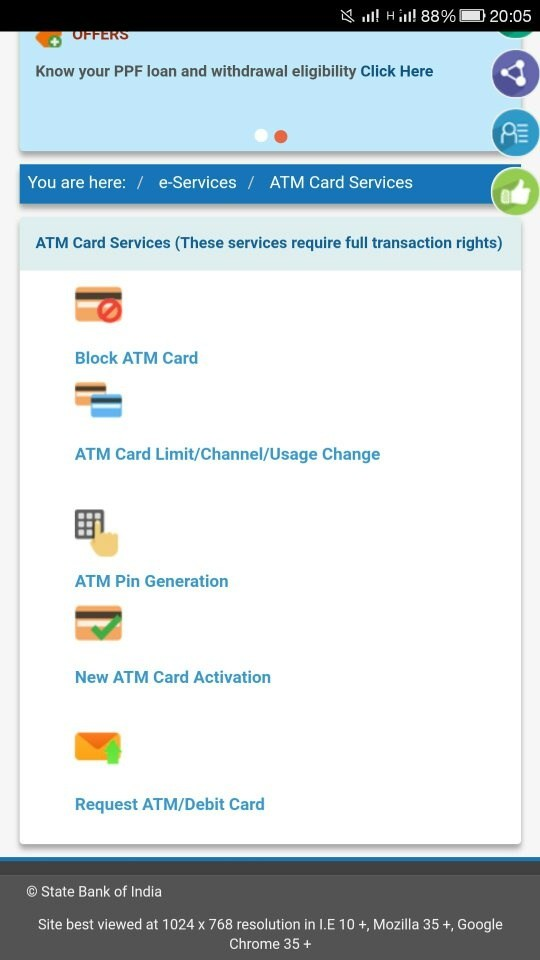 How to apply for an sbi atm card quora then you can see the last option as request atmdebit card click it spiritdancerdesigns Gallery