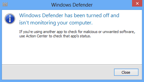 cant activate windows defender