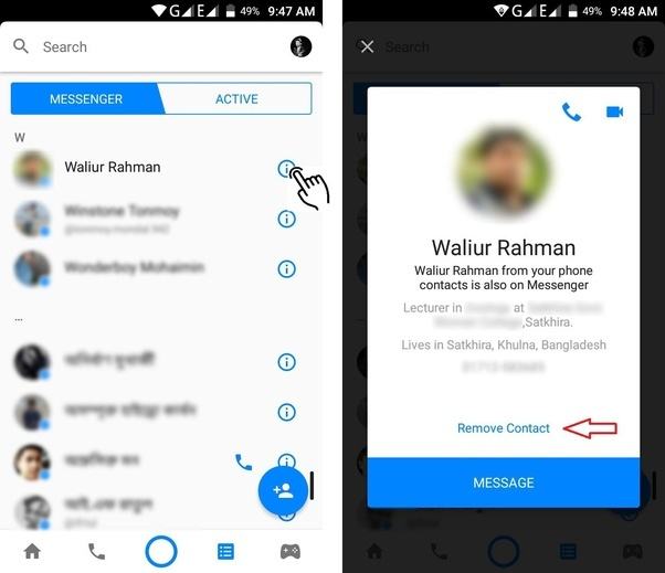 How to remove a non friend from facebook messenger contact list quora if your synced contact list is too long to manage you can remove them altogether from facebook ccuart Image collections