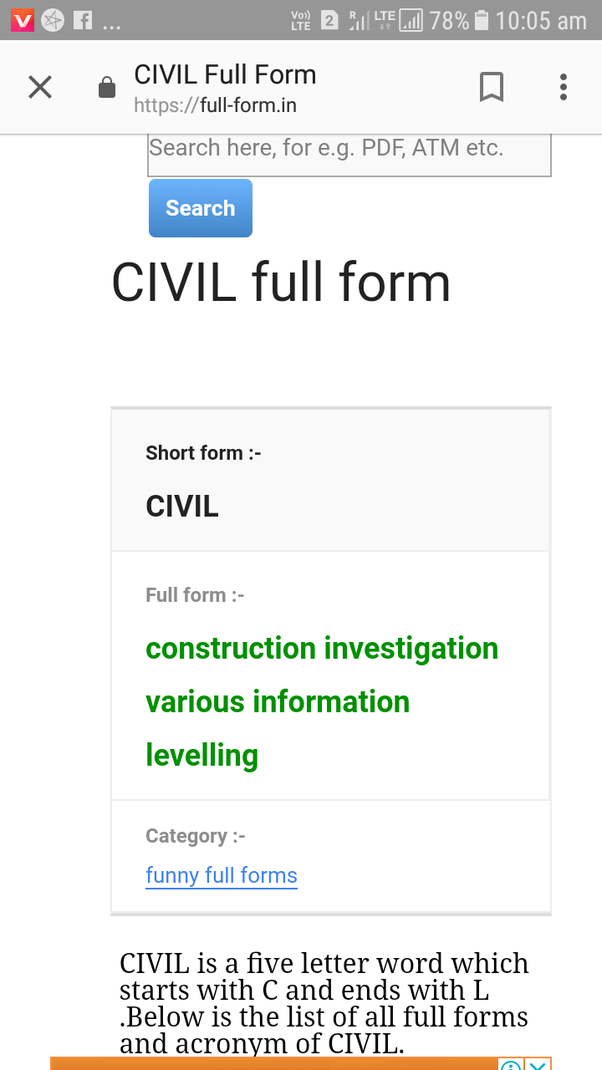 What is the full form of 'civil'? - Quora