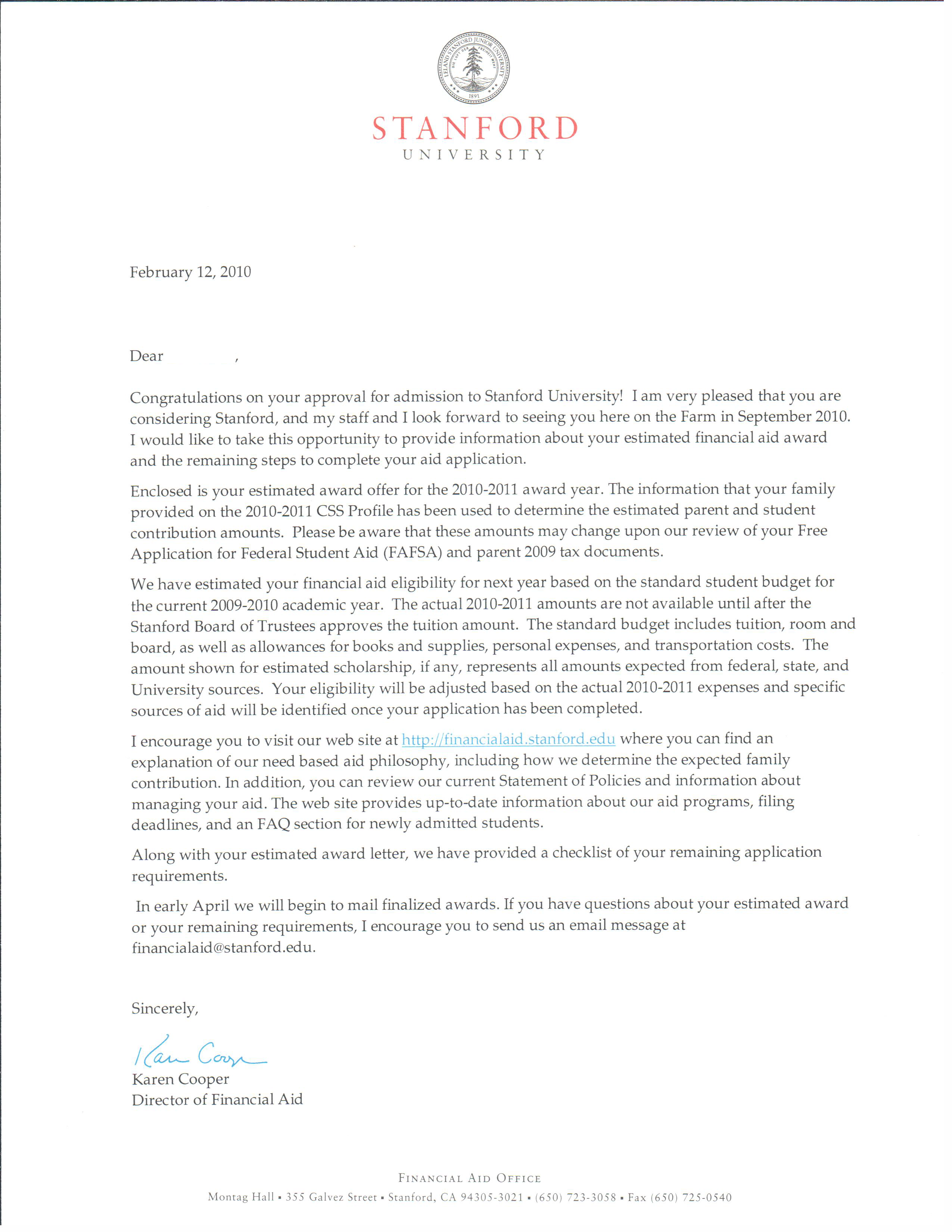Does Stanford send 'likely letters' to undergraduate