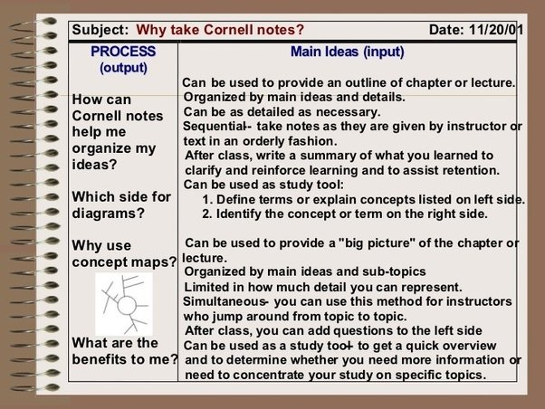 The Cornell Method Provides A Systematic Format For Condensing And  Organizing Notes. The Student Divides The Paper Into Two Columns: The Note  Taking Column ...