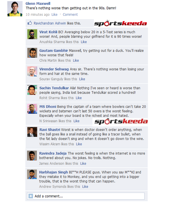 Source Fb Wall Indian Cricketers Tell Maxwell Whats More Worse Than Getting Out In The S