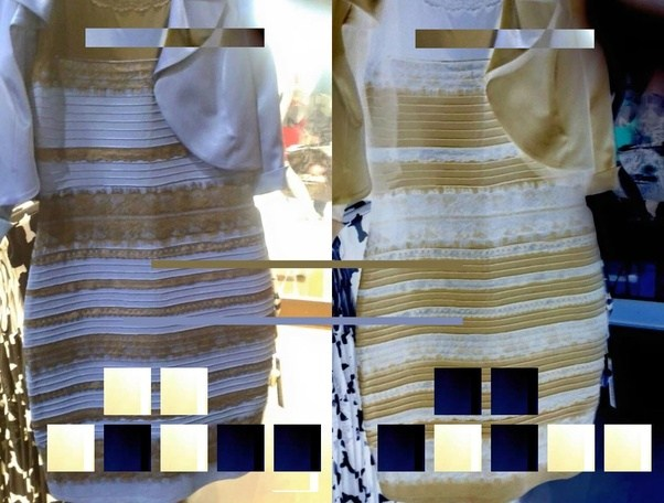 Monitor black and white and gold dress