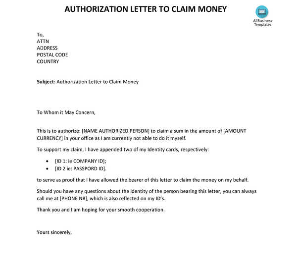 How to write an authorization letter to claim money - Quora