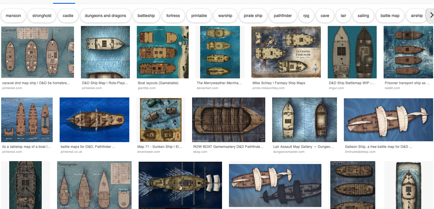 Where can I find good deck maps of ships for a D&D adventure