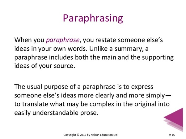 In case you are knowledgeable about paper writing, paraphrasing