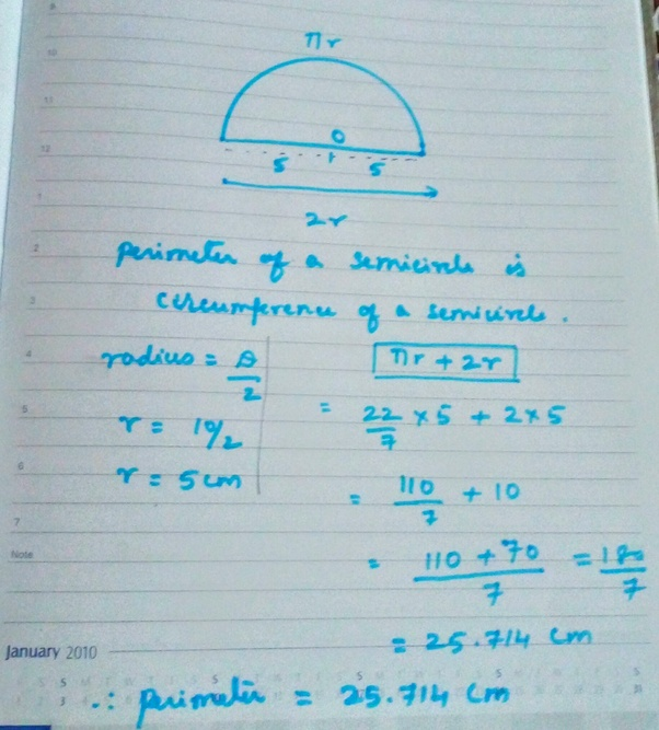 What is the perimeter of a semicircle whose diameter is 10