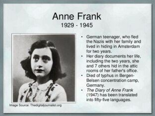 Why Did Anne Franks S Father Distributed Her Diary To