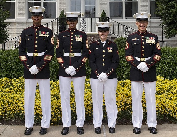Who has better dress uniforms - enlisted Marines or ...