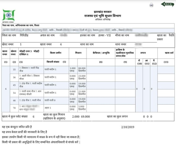 How to check land records (Khasra, Khata details) in Jharkhand