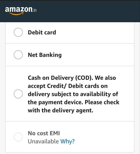 Comment obtenir la livraison d'Amazone à Patna (COD non pris en charge) si je ne souhaite aucune forme de net banking