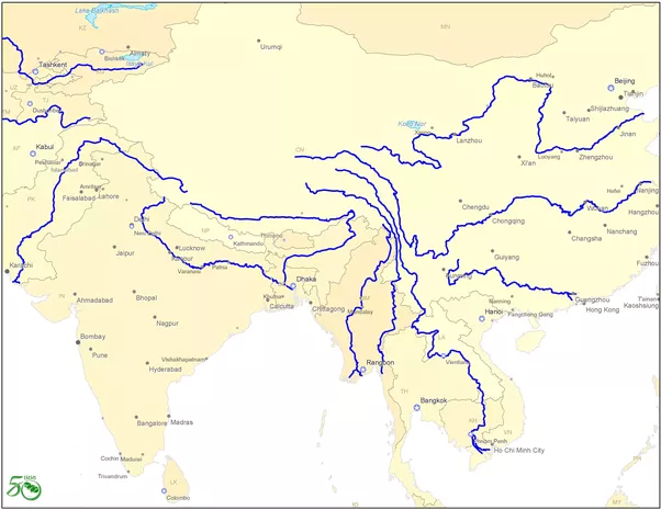 What Percentage Of The River Flow In Asia Originates From The - 3 major rivers