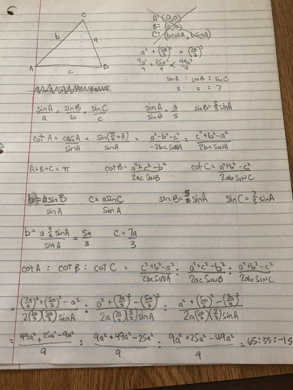 What Is The Cotangent Ratio If The Sines Of The Angles Of A Triangle