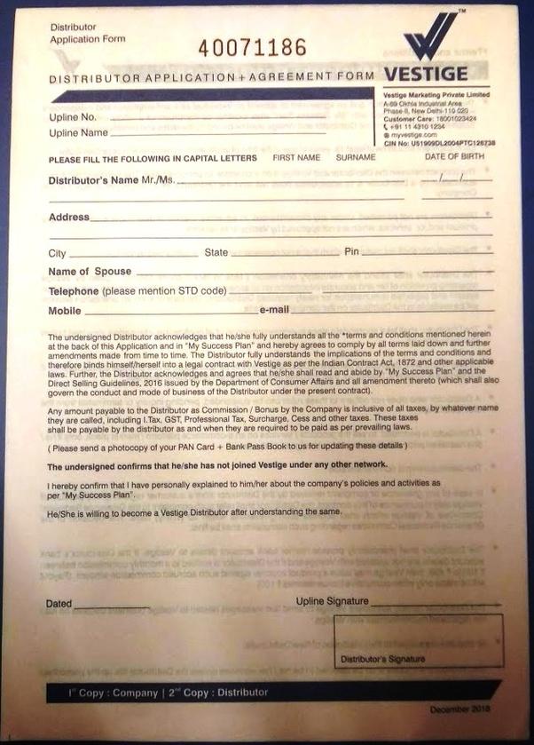 vestige order form 2019  How to join Vestige - Quora