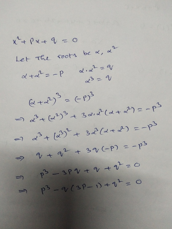 If one root of the equation [math]x^2+px+q=0[/math] is the