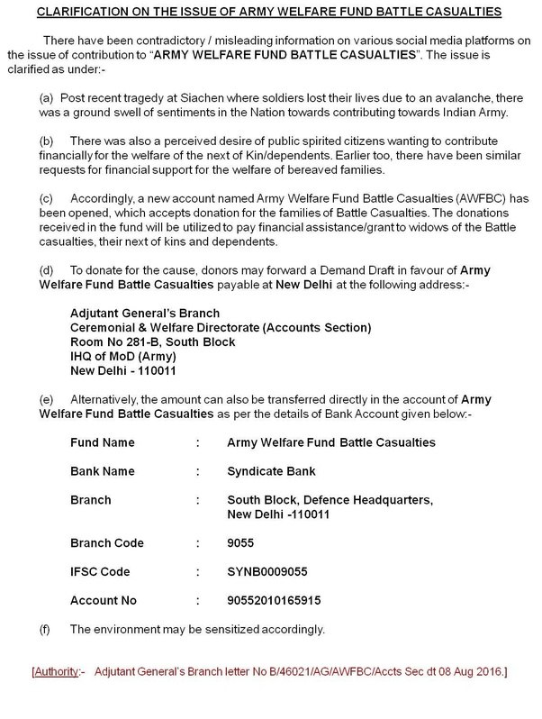 Is The Viral Post On Army Welfare Fund Battle Casualities For