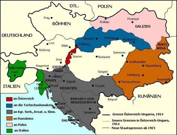 fyi the austrian hungarian empire was divided as such here is a map of german austria