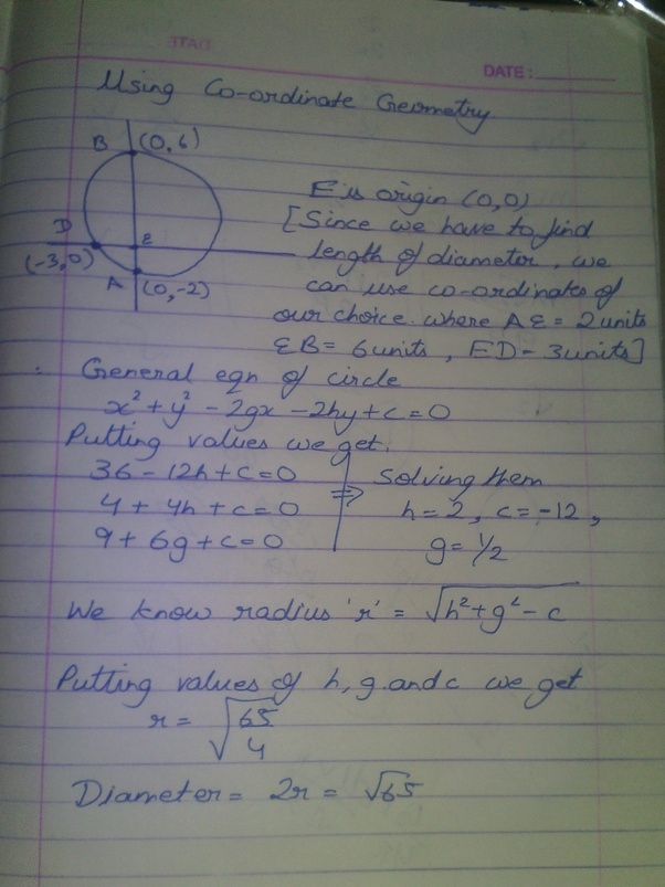 Chords Ab And Cd Of A Circle Intersect At E And Are Perpendicular To