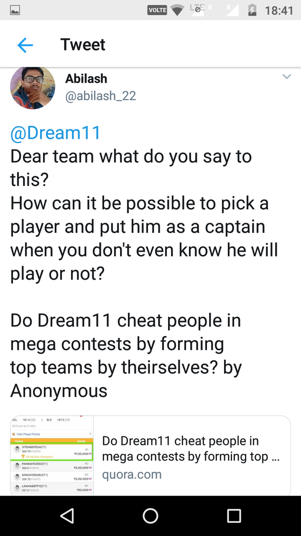 Do Dream11 cheat people in mega contests by forming top