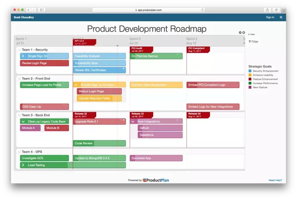 here are a couple example roadmaps built with productplan