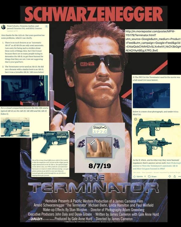 Were the Terminator's automatic AR-15 and Mini-Uzi guns