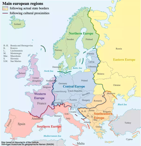 this often includes a central europe and a different southern and south eastern europes this division is not as well defined but might look like this