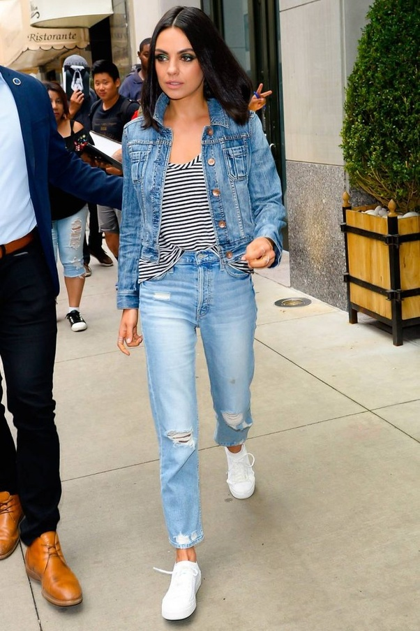 b786d0ed7a You can wear two different colours of denim to reduce the monotone of the  outfit. It can be the combination of light and dark just like how Mila  Kunis have ...