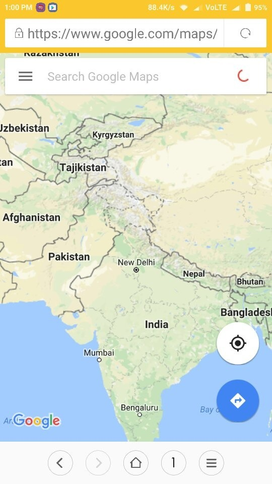 Google Maps Shows A Clear Border Line Between India Pakistan