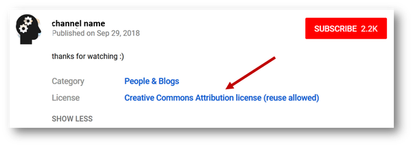 How to find the copyright notice of a YouTube video for