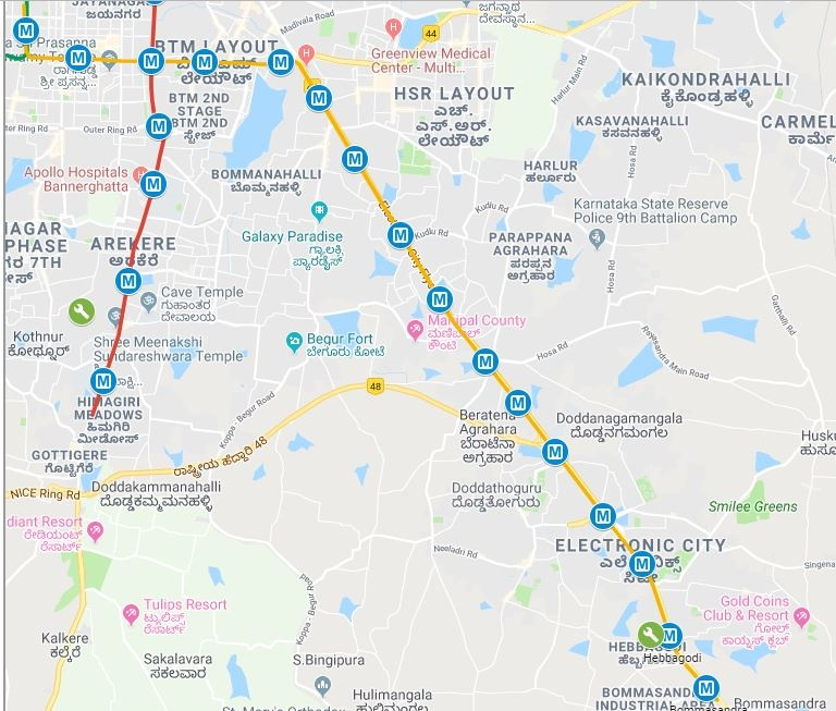 Where are the exact locations of the Bangalore metro phase 2