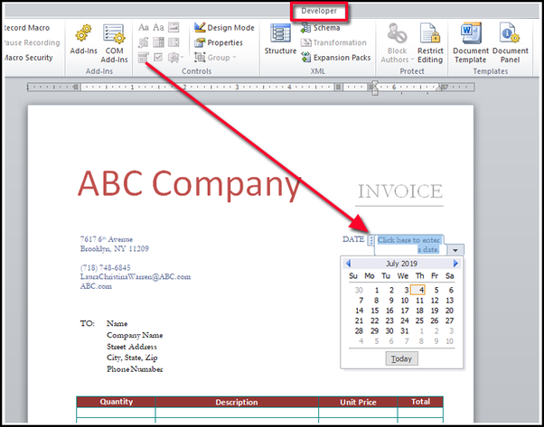How To Create A 1 Page Ms Word Template For An Invoice Quora