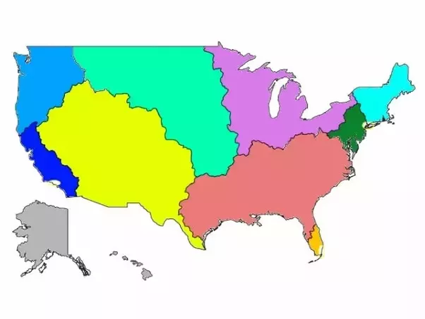 If you could split up USA into 5-8 different regions or countries ...