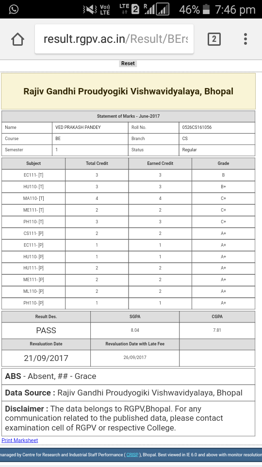 Rgpv calculator for grading system 2018 2019 student forum.