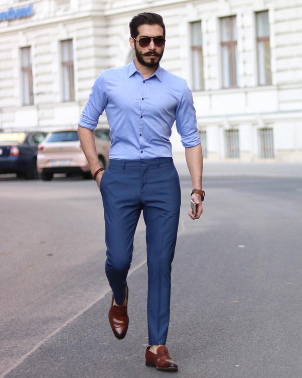 Indian Men Formal Hairstyle: What Colour Pants Go Well With A Light Blue Shirt For Men