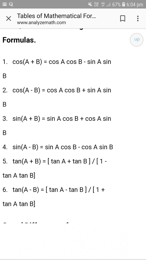 What Is The Formula Of Sina   Cosb