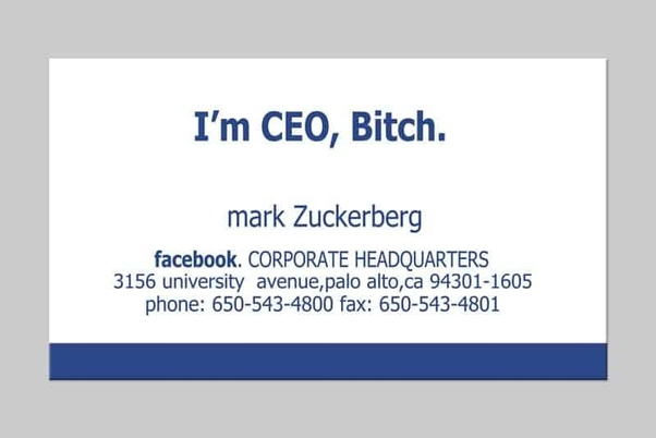 did the visiting card of mark zuckerberg actually read i m ceo