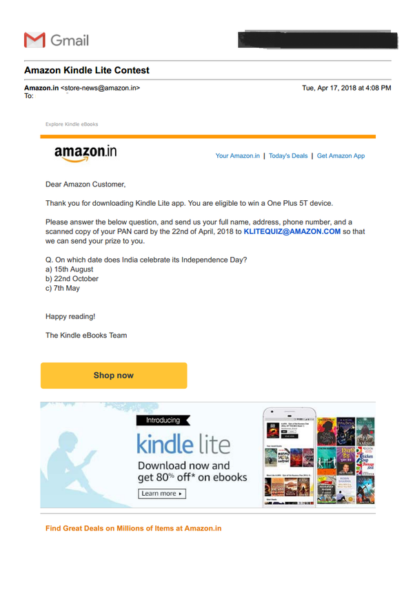Has anyone won anything from amazon contests quora declaration of winner we will notify the winner within 14 days of the contest the winner may be required to share a valid proof of identity and age in the fandeluxe Images