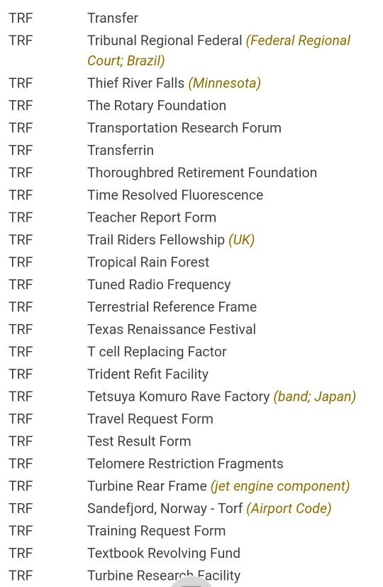 What Is The Full Form Of Trf Quora
