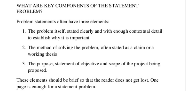 Problem statement in thesis proposal