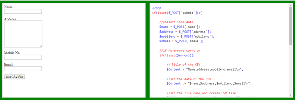 How to save an input data from an HTML form to an Excel