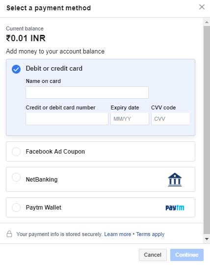 buy facebook ad coupon india