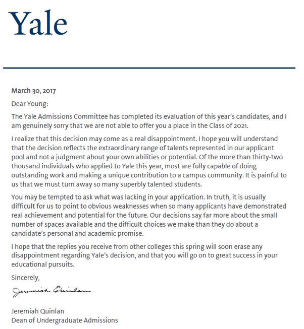 What does the rejection letter from oxbridgeivy league look like here are the rejection letters to five ivy league colleges i were denied from altavistaventures Images