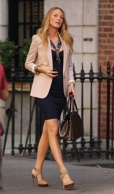 A Creme Blazer Is Wonderful Way To Draw Together Navy Dress With Neutral Shoes And Accessories