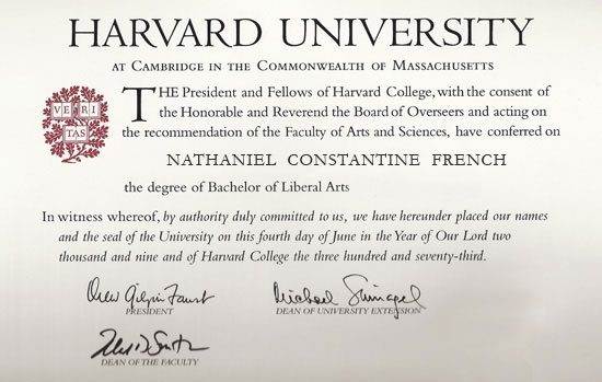 What Does A Harvard Degree Look Like