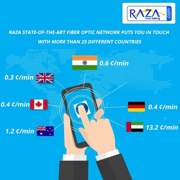 we provide you international calls and data on international traveling if you purchased the raza calling card on your international travel then you get the - Best International Calling Cards