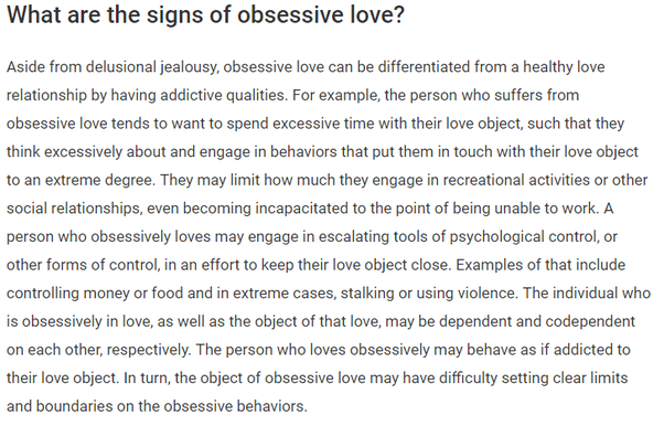 How you detect an obsessive love disorder? What are the